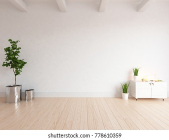 Idea of a white scandinavian room interior with dreser and classic wooden floor. Nordic home interior.3D illustration
