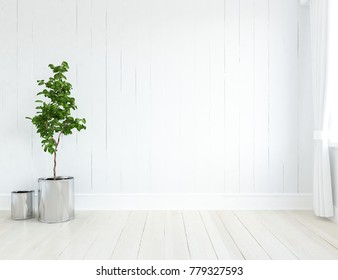 Idea of a white scandinavian room interior. Nordic home interior. 3D illustration