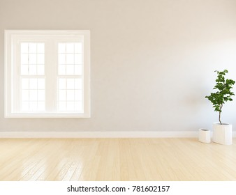 Idea of a white scandinavian room interior with white landscape in window. Home nordic interior. 3D illustration