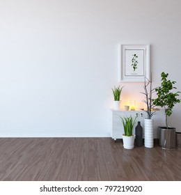 Idea of a white scandinavian room interior with dresser and vases on the wooden floor and picture on the large wall and white landscape in window. Home nordic interior. 3D illustration
