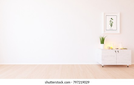 Idea of a white scandinavian room interior with dresser and picture on the large wall and white landscape in window. Home nordic interior. 3D illustration