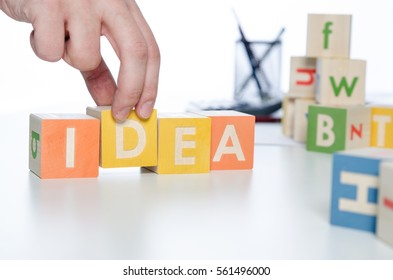 IDEA word with colorful blocks. idea innovation concept business block alphabet plan hand concept