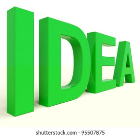 Idea Word In Green Showing Concept And Creativity