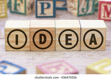 Idea word written on wood cube