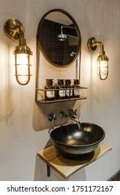 Ideal Home Show, London - June, 2019.   Cropped picture of a stylish bathroom interior. Vintage style design.
