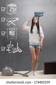 An ideal homemaker with weekly chore checklist