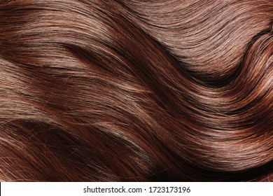 Ideal natural brown hair close up.