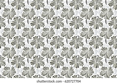 Ideal for web, card, poster, fabric or textile. Hand Drawn tropical style texture. Raster seamless pattern of hibiscus flowers on a white. Creative universal floral pattern in gray colors.