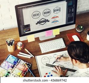 Ideas Creative Occupation Design Studio Drawing Startup Concept