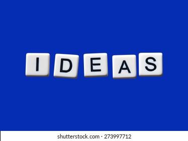 Ideas highlighted on white blocks