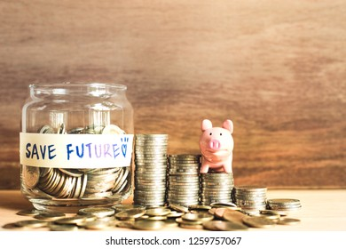 An ideas of saving money for the future with coins and piggy bank,The strong life of success