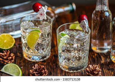Ideas of winter drinks from gin and tonic for the new year. A bottle of gin and water tonic on a wooden table