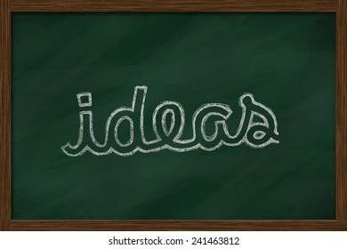 ideas word written on chalkboard