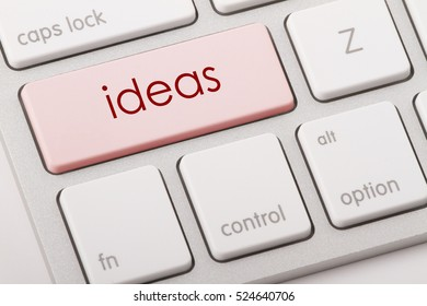 ideas word written on computer keyboard.