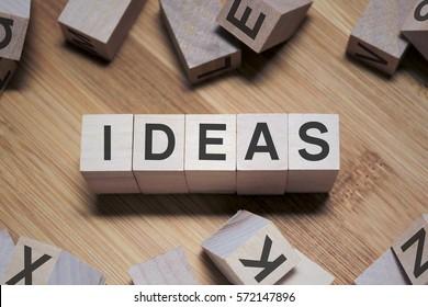 Ideas Word Written In Wooden Cube