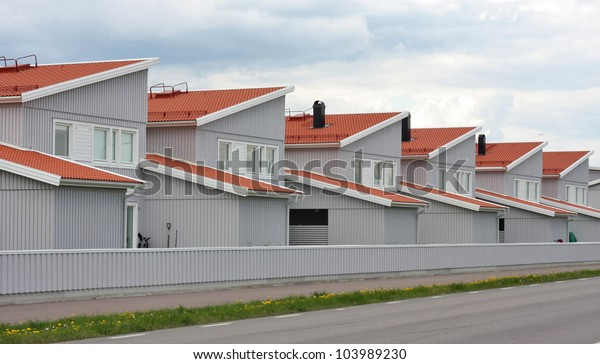 Identical row houses. Symbol for mass production in the building industry.