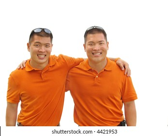 Identical twin brothers in a display of solidarity