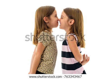 Identical Twin Girls Looking Each Other Stock Photo Edit Now