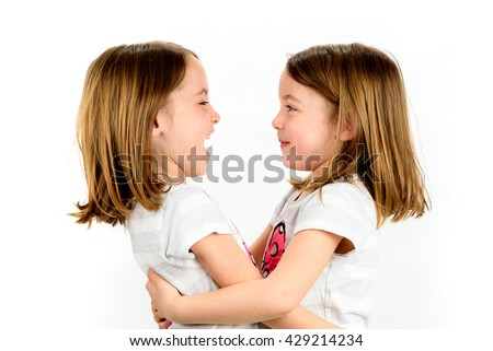 Identical Twins Girls Looking Each Other Stock Photo Edit Now