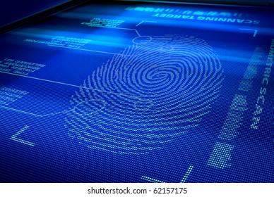 identification system scanning human fingerprint