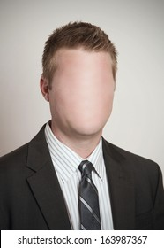 Identity concept businessman with blank anonymous face
