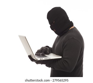 Identity thief with laptop computer on white background.