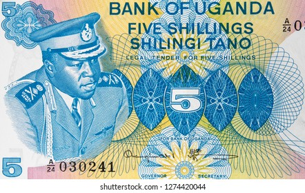 Idi Amin Dada on Ugandan 5 shilling banknote, Uganda money currency close up