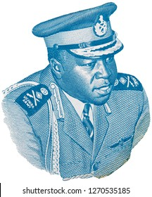 Idi Amin Dada portrait on Ugandan 5 shilling banknote isolated