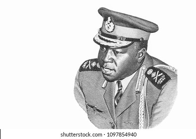 Idi Amin Portrait from Uganda's South Africa. Banknotes.