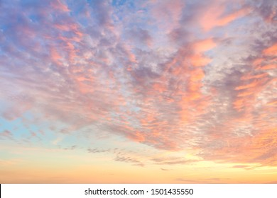Idillic Gentle Colors of Sky with light Clouds - Background at Sunrise time