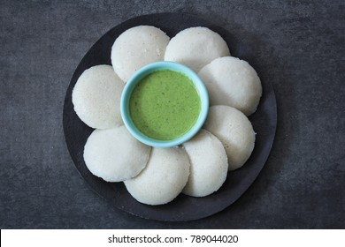 Idli / Idly food South Indian breakfast with chutney top view