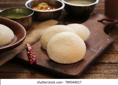 Idli with sambar chutney - South Indian breakfast made of lentil and rice