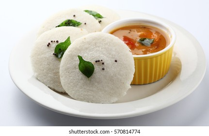 idli, sambar and coconut chutney, south indian breakfast