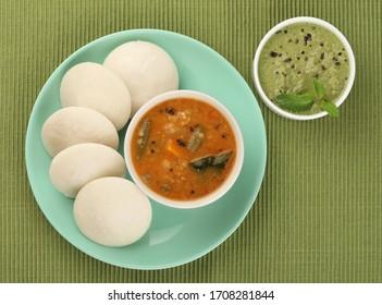 Idli, sambar and mint chutney, south Indian breakfast