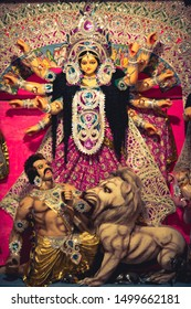 Idol of hindu goddess Durga during Bengal's Durgapuja Festival. Background picture for indian festival.