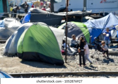 Idomeni, Greece, April 15, 2016 -  Thousands of migrants stuck in Idomeni. The camp for refugees and migrants at the Greek-Macedonian border near Idomeni. The European refugee and migration crisis