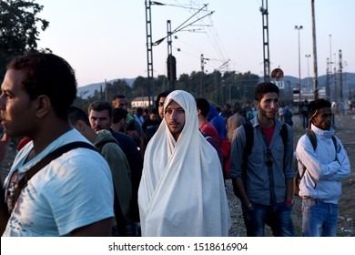 Idomeni, Greece - August 29, 2015. Refugees wait to cross the Greek Macedonian border.