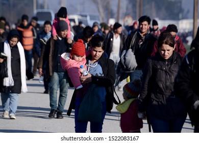 Idomeni, Greece - February 17, 2016. Refugees arrive at the makeshift refugee camp of Idomeni in order to cross the Greek Macedonian border.