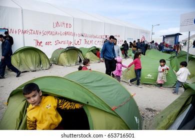 Idomeni, Greece - March 2, 2016. Refugees inside the makeshift refugee camp of Idomeni, at the Greek - Macedonian border.