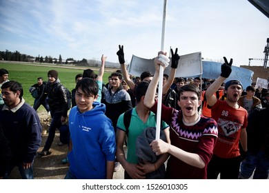 Idomeni, Greece - March 3, 2016. Refugees protest at the Greek Macedonian border.