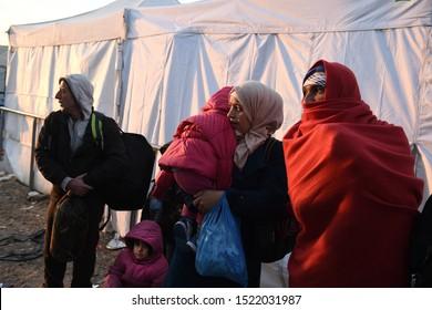 Idomeni, Greece - October 23, 2015. Syrian refugees wait to cross the Greek Macedonian border.