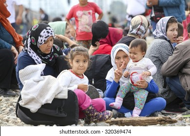 Idomeni, Greece - September 24 , 2015: Hundreds of immigrants are in a wait at the border between Greece and FYROM waiting for the right time to continue their journey from unguarded passages