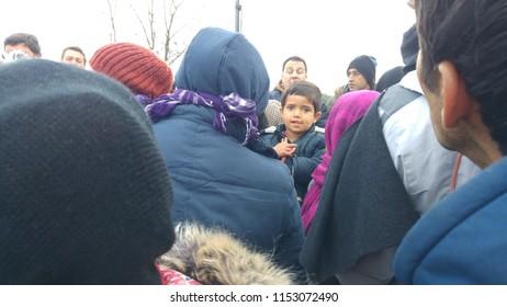 Idomeni, Greece/Kilkis - 12/01/2015: Idomeni Refugee Camp, Refugee Children of Idomeni.