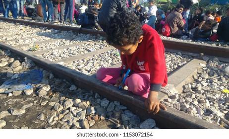 Idomeni, Greece/Kilkis - 12/05/2015: Idomeni Refugee Camp, Refugee Children of Idomeni.