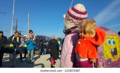 Idomeni, Greece/Kilkis - 12/07/2015: Idomeni Refugee Camp, Refugee Children of Idomeni.