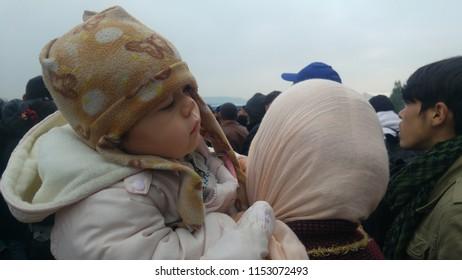 Idomeni, Greece/Kilkis - 20/11/2015: Idomeni Refugee Camp, Refugee Children of Idomeni.