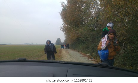 Idomeni, Greece/Kilkis - 20/11/2015: Refugees families trying to reach Idomeni Camp because its the only hope to cross the border line to pass Macedonia.