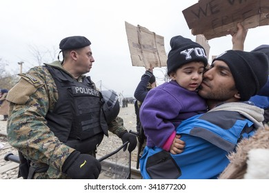 Idomeni, Kilkis, Greece, November 21 2015: Refugees and migrants stage a protest demanding to be allowed to cross to Macedonia, near the Greek village of Idomeni.
