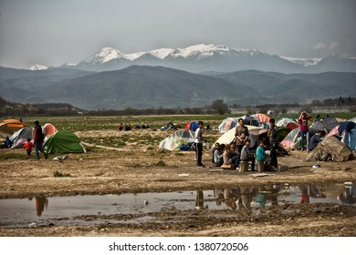 Idomeni/Greece - March 22 2016: refugee camp on the border between Greece and FYROM. 11.000 refugees lived there for several months, forming the biggest refugee camp in Europe.