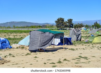 Idomeni/Greece-April 15, 2016: Improvised tent homes. Difficult life conditions in transit refugee/migrant camp at the Greek-North Macedonian border.